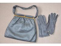Vintage Jane Shilton leather handbag with matching gloves.