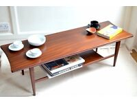 Vintage Richard Hornby for Heal's Danish style two-tier teak coffee table. Delivery. Mid century.