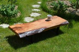 Made to order waney/live edge slab/plank/timber. Oak oiled coffee table with steel/metal black legs