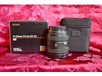 sigma ex 10-20mm super wideangle lens. boxed pentax fit.