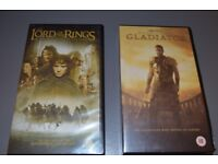 VHS tapes Lord of the Rings: The Fellowship of the Ring video and Gladiator video
