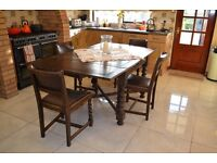 Antiques - Antique English 6Ft Solid Oak Barley Twist Drawleaf Table & 4 Matching Chairs