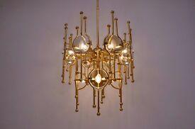 Sciolari chandelier 12 lights, gold gilt & glass,1970`s, Italian