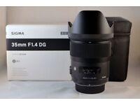 Sigma 35mm F1.4 DG HSM Art Lens (CANON)