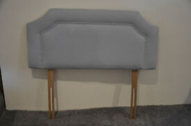 2 x matching grey single headboards