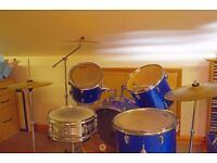 SX Alfa Series Full Drum Kit with cymbals - Blue