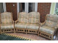 Three piece suite, Whitaker Cane Furnitire for conservatory. Very comfortable. Good condition.