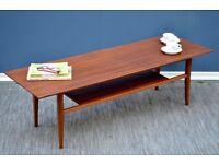 Vintage Danish two tear teak coffee table. Delivery. Modern / midcentury style.