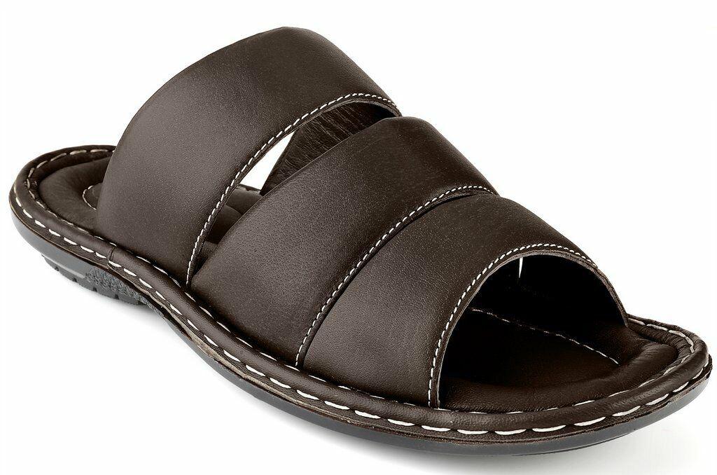 Men's Open Toe Sandals Top Grain Leather Soft Cushion Footbed Stripes Sizes 7-13 1