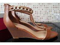 Brand New & Boxed - Tan Wedge Sandals with Gold Chain Detail - Size 8