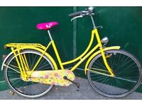 Vintage Classic 19 inch ladies yellow step over bicycle Dutch city town country bike