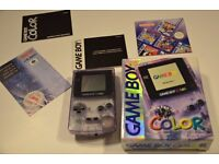 Nintendo Game Boy Color Atomic Purple Handheld System Boxed with instructions.
