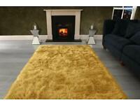 1) Amazing Premium large yellow rug size 230 x 160 cm thick shaggy mustard gold rug £70