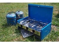 Gaz Stove - Double Burner with Grill & gas bottles