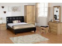 New Charles oak effect bedroom wardrobe £139 bedside £55 chest £125 dressing table set £145