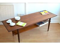 Vintage large Danish two-tear teak coffee table. Delivery. Modern / mid century.
