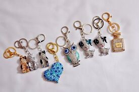 8 New gorgeous assorted diamante style keyrings - great for little gifts