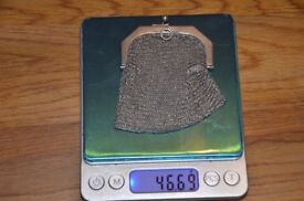 Bargain! Antique sterling silver Coin Chatelaine Purse