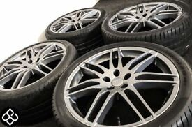 "NEW AUDI STYLE 19"" ALLOY WHEELS & TYRES - 5 X 112 - 255 35 19 - GLOSS GRAPHITE - Wheel Smart"