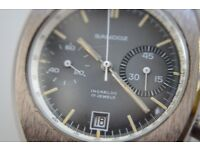Sandoz manual wind mechanical chronograph wrsitwatch - Swiss - '70s - 17 jewel - Vintage