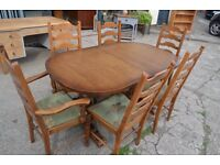 Old Priory extending dining table and six chairs inc two carvers - solid oak