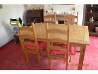 Wooden Dinning Room Table & 4 Wooden Chairs Used