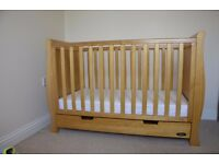 Baby sleigh cot bed with mattress and bedding set