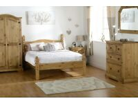 New Solid Corona Mexican Pine beds bedside cabinets chests of drawers wardrobes etc FROM £59-£395
