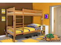 ALEX Y Pine Double Wooden Bunk Bed for Children/Kids made of Solid Wood