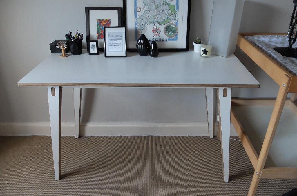 Unto This Last White Laminate Plywood Birch Table Desk