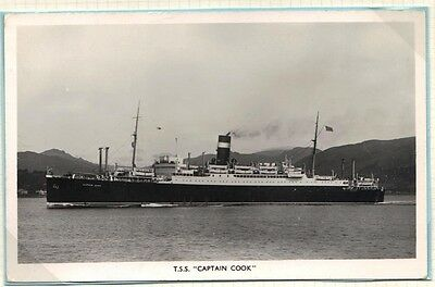 UK GB 1953 DONALDSON LINE PAQUEBOT PHOTO CARD GB 2d W/ CURACAO CDS ON SS CAPTAIN