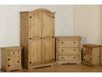 Solid Pine 4Piece Bedroom Set BRANDNEW Flatpack Wardrobe/Cheast of Drawer & 2 Bedsides Fast Delivery