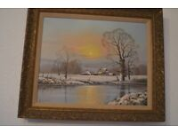 Peter Cosslett Winter Landscape Oil on Canvas with Cottage and Barns 50cm by 40cm
