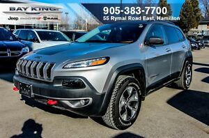 2016 Jeep Cherokee TRAILHAWK, NAVI, HTD LEATHER, REMOTE START, B
