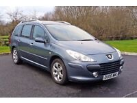 7-SEATER DIESEL ESTATE, PEUGEOT 307 1.6 SW HDI, 110 BHP, NEW MOT, FSH, SUPERB, PART-EXCHANGE WELCOME