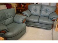 Green leather 2+1 Sofa suite in green leather - recliner rocker