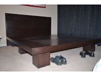 Queen size bed, Custom built natural wood frame (3 pieces) No assemblywith Free Matress.