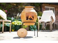 Clay Chimenea Chiminea BNIB Honeypot design