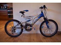 Rhino Aluminium Full Suspension Mountain Bike - Blue/Silver - Dual Point Pro - Kids