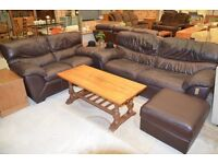 3 piece/2+3+Stool Italian Leather Suite Chocolate Brown Luxury soft by Contempo