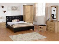 New Charles oak effect bedroom wardrobe £139 bedside £55 chest £125 dressing table set £129