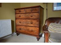 Antique Chest of Drawers, Circa 1850, Spanish Flame Mahogany, original lining paper in drawers.
