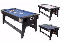 6 Foot Multi Games Table Air hockey, pool table & table tennis combination table!