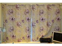 Lined Curtains (2 x 117cm x 137cm), Floral