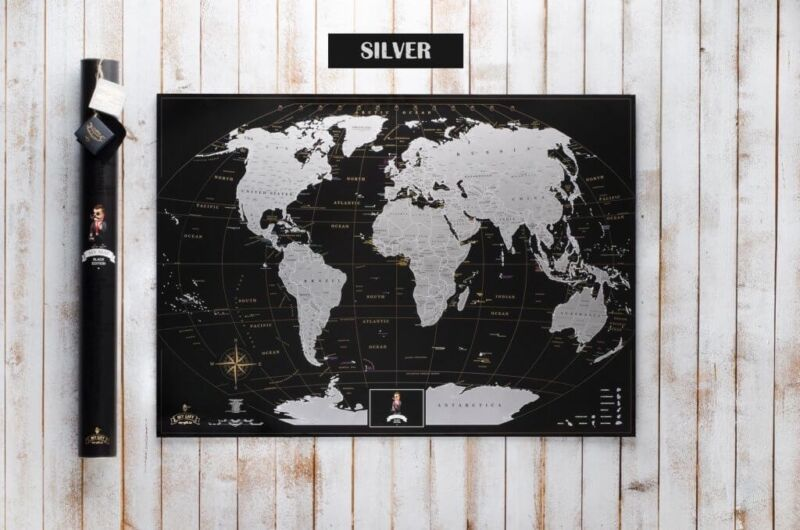 Scratch the World Silver Travel Edition Poster. Personalized world map Gift Tube