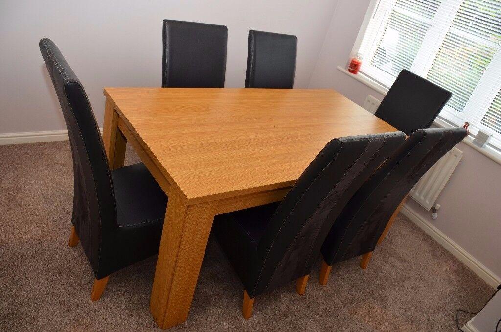 Oak Veneer Dining Table 6 Black Chairs Harveys