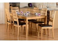 New ALL Solid Hardwood (no veneers) Small Strong Compact Dining Table & 4 Chairs ONLY £239