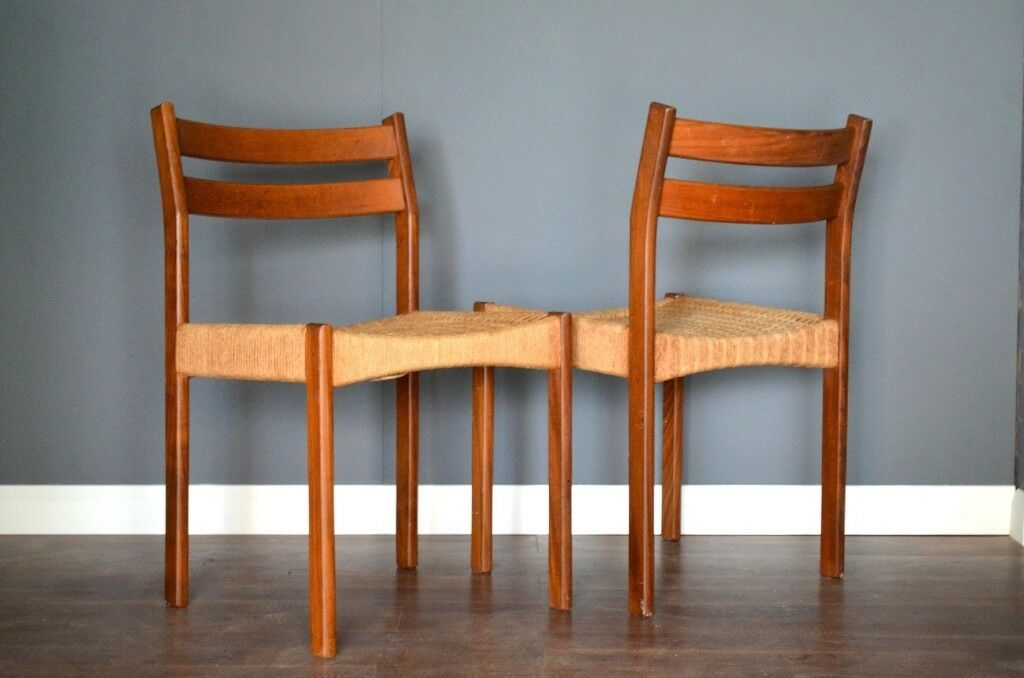 set of 2 vintage midcentury danish teak and wicker dining chairs