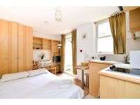 Lower ground floor studio flat with open plan kitchen,en-suite shower/WC and PRIVATE PATIO.