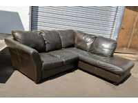 Brown leather corner sofa DELIVERY